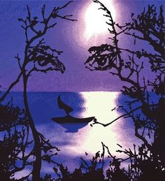 ILLUSN.com: Painting of evening scene - a face illusion - Hello Friends ! today's illusion is a another great piece of art by an artist showing an evening scene on canvas but  simultaneously it creates an illusion of a beautiful face too. look the boat sailing on water creates the nose and lips portion of the face, while the tree branches and leaves make the eyes illusion...wow!