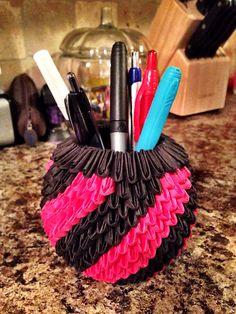 3D Origami Black & Red Pencil Holder