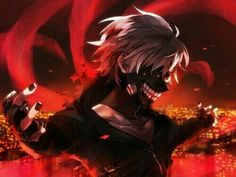 Kaneki Ken, ghoul, white hair, mask, kagune; Tokyo Ghoul