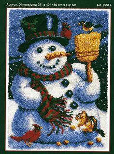Jp J P Coats Snowman Friends Latch Hook Rug Pattern Only No Yarn Canvas Ebay