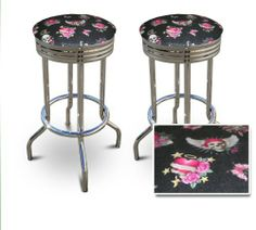 """2 24"""" Pirate Skull Cute Girly Heart Themed Specialty / Custom Barstools Set by The Furniture Cove. $154.87. Set of 2 Bar Stools. Chrome Metal Finish. These are new, 24 inch, chrome, specialty barstools. They have footrests and a swivel seat. The seat is made of a Pirate Skull Cute Girly Heart upholstery. The sides of the seat have nice metal work and there are feet protectors on the bottom of each leg. These are great for kitchen or shop, or spread around a gam..."""