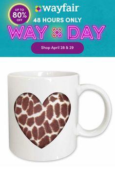 Giraffe Decor, Giraffe Print, Coffee Heart, Coffee Mugs, Custom Printed Mugs, Hand Washing, Lead Free, 3 D, Microwave