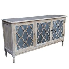 The Trellis Collection has all the hallmarks of provincial farmhouse style – reclaimed pine, a rustic white washed finish and slate metal panels with a decorati Interiors Online, Furniture, Reclaimed Sideboard, Funky Furniture, Metal Panels, Vintage Cupboard, Trellis Design, Furniture Storage Cabinets, Moroccan Furniture