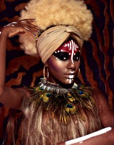 african beauty Afro-Brazilian heritage is paid tribute to in this show-stopping photo series Afro Punk, African Tribal Makeup, African Beauty, Pintura Tribal, African Face Paint, Tribal Face Paints, Tribal Paint, Beauty Photography, Tribal Looks