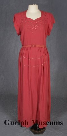 Pink crepe dress with sweetheart neckline and trimmed with rhinestones c. 1946.  Guelph Civic Museum
