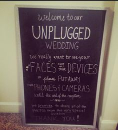 My husband and I used this sign to politely ask our guests not to take photos during our ceremony. Not only did it work super well but it's very cute and I would love for it to go to good use again!