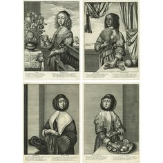 Set of four old master allegorical etchings by Wenceslaus Hollar of the seasons. Each season is represented by a three-quarter length portrait of a beautiful, fashionably dressed woman wearing seasonal clothing and standing beside a table with seasonal items. Below each figure is a pair of anonymous verses, in Latin on the left and in English on the right, about dressing for the weather and other things portrayed in the prints. Pictorial Maps, Grand Tour, Etchings, Old Master, Antique Prints, Natural History, Four Seasons, Anonymous, Verses