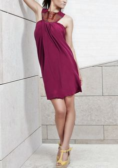 Draped Silk Dress Halter-neck Style Exclusive by Liangastore