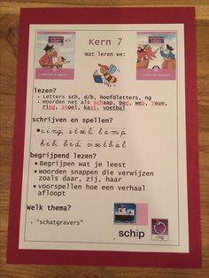 Kern 7. Doelenkaarten per kern voor Veilig Leren Lezen 2e maanversie, om de leerdoelen voor de leerlingen, de ouders en jezelf inzichtelijk te maken. Ik kan je het bestand mailen in pdf, stuur je een mailtje aan: jufhesterindeklas@gmail.com? Dan stuur ik de gevraagde bestanden toe. Achtergrond is gekleurd karton 270 grams, in dit geval in dezelfde kleur als de kern. Primary School, Kids Learning, Language, Classroom, Letters, Education, Dyslexia, Kid, Pirates