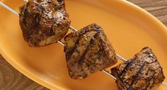 Brazilian-Style Skewered Pork Tenderloin: Bring restaurant quality Brazilian-style barbecuing to your backyard. Pieces of marinated pork tenderloin are double skewered then grilled to perfection, creating flavorful, moist and tender meat every time. Brazilian Style, Brazilian Bbq, Brazilian Recipes, Grilling Recipes, Pork Recipes, Cooking Recipes, Copycat Recipes, Barbacoa, Steak Skewers