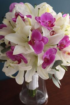 KellysFlowers_White Casablanca Lily and Phaleonopsis Orchid Bridal Bouquet.jpg