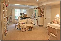Beautiful Vintage Craft Studio Room of blogger Pink Roses and Other Passions