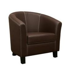 @Overstock - A cleanly-designed club chair, this modern design is made with dark brown faux leather featuring contrasting white stitching.http://www.overstock.com/Home-Garden/Elijah-Dark-Brown-Faux-Leather-Modern-Club-Chair/5258383/product.html?CID=214117 $211.49