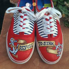 """""""Refuse to Sink"""" --  Nautical Inspired Hand Painted Shoes!!"""