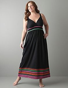 Striped hem maxi dress is a cool and comfy choice for a great night's sleep. Ultra soft maxi features the season's hot, electric hues and flatters curves with tank straps, surplice neckline and banded waist with piping trim.  sonsi.com