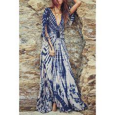 Stylish Plunging Neck Split Sleeve Printed Maxi Dress For Women