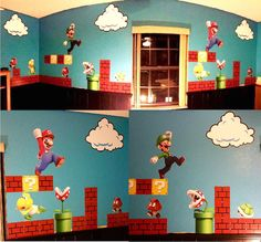 Super Mario Bros Clouds Wall Decal - Video Game Wall Decal Murals - Primedecals