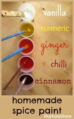 Homemade spice paint: easy to make and great sensory play for eyes and noses!