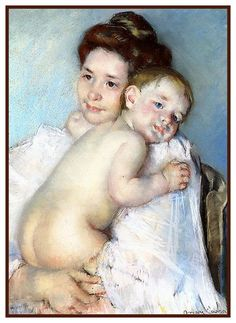 Berthe Holding The Baby by American impressionist artist Mary Cassatt Counted Cross Stitch or Counted Needlepoint Pattern