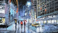 Original Contemporary Night city Modern Art Acrylic by spirosart
