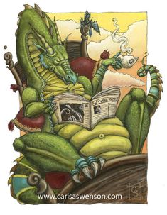 Even a Book Dragon loves a cup of tea while reading. Fantasy Dragon, Dragon Art, Magical Creatures, Fantasy Creatures, Fantasy World, Fantasy Art, Illustrations, Illustration Art, Mythical Dragons