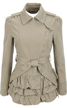 lenore. military style,  side zipper, buckles at the shoulders,light grey with ruffles and a bow? sold