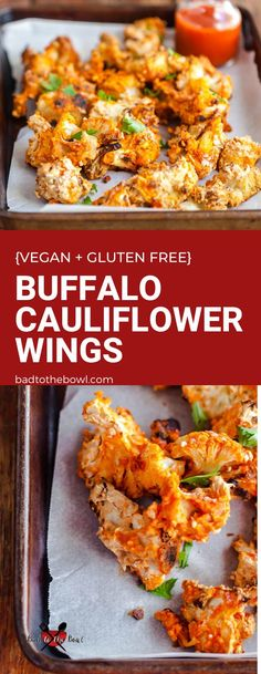 Baked buffalo cauliflower wings are perfect for a party appetizer or weeknight plant based dinner side dish. #cauliflower #plantbaseddinner Vegan Cauliflower Wings, Baked Buffalo Cauliflower, Cauliflower Recipes, Healthy Vegan Desserts, Vegan Lunch Recipes, Vegan Side Dishes, Dinner Side Dishes, Dairy Free Sauces, Vegan Fries