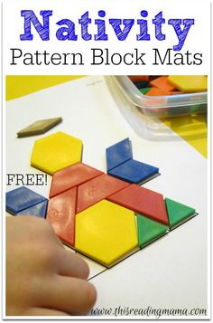 This Reading Mama has a FREE Nativity Pattern Block printable. In this pack, are 6 mats that correspond with the Nativity story, found in Luke 2 and Ma Christmas Activities For Kids, Preschool Christmas, Christmas Nativity, Christmas Themes, All Things Christmas, Kids Christmas, Preschool Activities, Christmas Crafts, Xmas