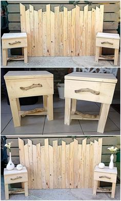 Marvelous DIY Ideas for Recycling Old Wood Pallets: Let's make your house impressive and charming looking with the infusion taste of the recycled wood pallet projects in it! Diy Pallet Sofa, Wooden Pallet Projects, Diy Pallet Furniture, Pallet Ideas, Furniture Ideas, Pallet Headboards, Diy Projects, Bed Furniture, Woodworking Projects