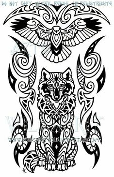 This is 's completed commission of a hawk and wolf done in Maori style I do apologize for the obnoxious watermarks but they have been put in place to he. Wise Wolf And Hawk Maori Design Maori Tattoos, Wolf Tattoos, Hand Tattoos, Tribal Wolf Tattoo, Tribal Sleeve Tattoos, Celtic Tattoos, Polynesian Tattoos, Tribal Animal Tattoos, Borneo Tattoos