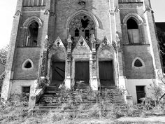 Abandoned Holy Trinity Roman Catholic Slavish Church, Duquesne, Allegheny County, Pennsylvania. Dedicated October 16, 1904. After dramatic population decline following the collapse of the steel industry, the church was deconsecrated and closed in 1985.