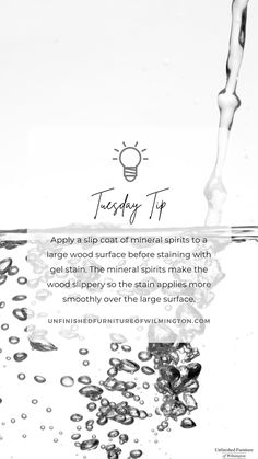 TUESDAY TIP: Mineral Spirits When using @generalfinishes gel stains on a large surface, apply mineral spirits beforehand. This will make the wood slippery, allowing you to apply the stain more smoothly over the surface. Learn more at the provided link. Like and follow for more tips! #TuesdayTip #Furniture #Wood #DIY #UnfinishedFurnitureofWilmington Gel Stains, Unfinished Furniture, Wipe Away, Wood Surface, Raw Wood, Mineral, Tuesday, How To Apply