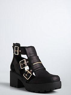 Buckle Ankle Booties (Wide Width), BLACK