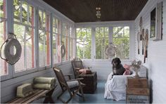 cottage sunroom - beadboard walls - Richard Michaelson - Re-Wilding Porch And Balcony, Home Porch, Cottage Porch, Sunroom Windows, Enclosed Porches, Screened Porches, Bead Board Walls, Style Shabby Chic, Sleeping Porch