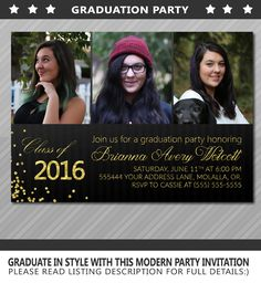Graduation party, graduation party invitations, graduation announcements high school, graduation party template, college graduation by WolcottDesigns on Etsy