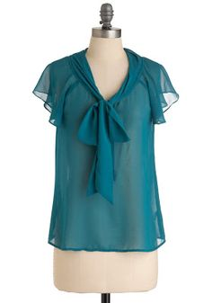 $32.99 You're in the Sheer Top #sheertop #teal #blue #bow
