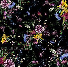 A digital floral desing suitable for scarves or textile.