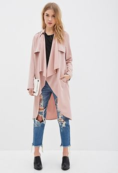 Longline Draped Open-Front Jacket | Forever 21 - 2000135735