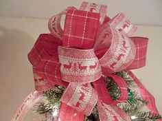 Large Christmas Tree topper bow  red and off by creativelycarole