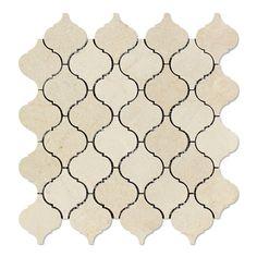 crema marfil marble polished lantern arabesque mosaic tile - Arabesque Tile Backsplash