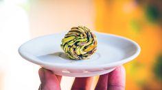 Strange food, super deformed pistachio crusted truffle super deformed