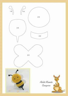 Easy Crafts For Friends - Summer Crafts For Kindergarteners Fun - Christmas Crafts For Kids At School Grandparents - Felt Animal Patterns, Felt Crafts Patterns, Felt Crafts Diy, Bee Crafts, Applique Patterns, Felt Diy, Stuffed Animal Patterns, Crafts For Kids, Stick Crafts