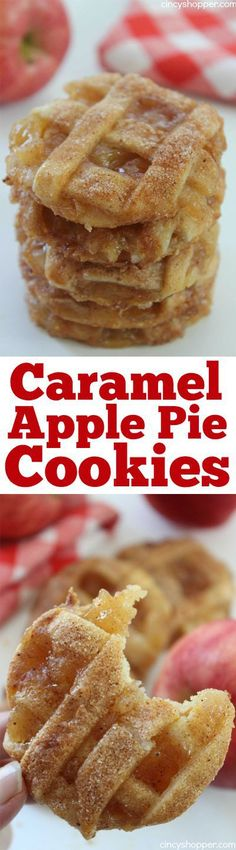 Caramel #Apple #Pie #Cookies -Easy fall cookie. Pastry crust, warm gooey caramel and apples make them delish. #recipe #desserts #cookie
