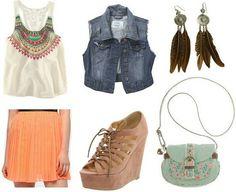 Orange skirt, colorful shirt, denim vest, wedges, feather earrings, mint bag