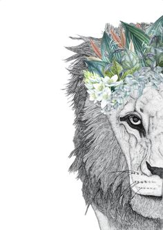 Leo the Lion with Foliage Crown - Dots by Donna Lion And Lioness, Leo Lion, Lion Of Judah, Animal Drawings, Art Drawings, Crown Drawing, Cute Tats, Watercolor Images, Watercolor Lion