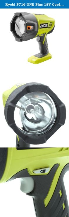 Ryobi P716 ONE Plus 18V Cordless Xenon Hi-Beam Spotlight (Bare Tool Only - battery and charger not included). The RYOBI 18V ONE Xenon Hi-Beam Spotlight features a high intensity beam for maximum lighting in dim areas. This 2,800-lumen light features a lock-on button which allows the user to activate the light without continuously holding the trigger switch. This Spotlight is ergonomically designed and has a center balanced handle to reduce fatigue during extended periods of use. It has a...
