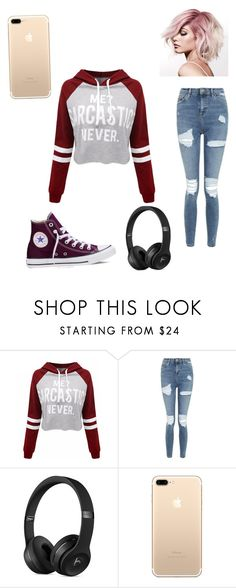 """Untitled #11"" by nimomohamud101 ❤ liked on Polyvore featuring WithChic, Topshop and Converse"