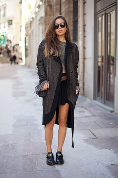STREET STYLE SPRING 2013: PARIS FASHION WEEK - Creepers and a draped coat are effortless cool on Rumi Neely.