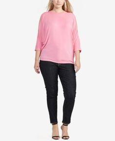 Lauren Ralph Lauren Plus Size Dolman-Sleeve Top - Peace Rose 2X