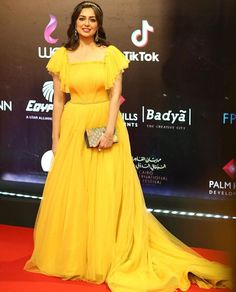 Heba Magdy in yellow evening dress || CIFF